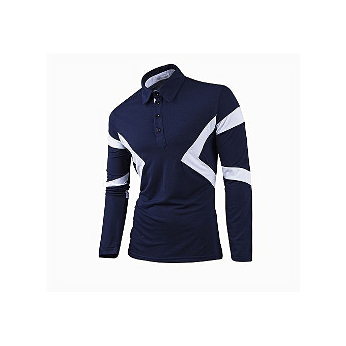 OEM Super Large Taille Long Sleeve Polo New Classic Mens Polo Shirts Long Sleeve Spring Men's Shirt Brands Camisa Polo Masculina Plus Taille - bleu à prix pas cher