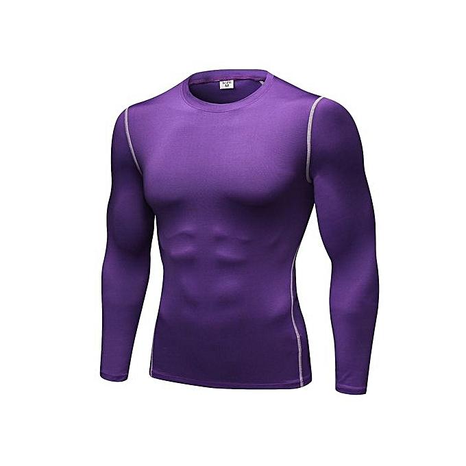 Other Hommes& 039;s Slim Fit  manche longue Gym Fitness T Shirt-violet à prix pas cher