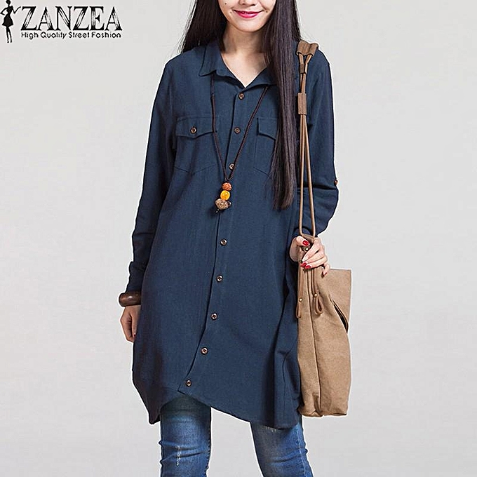 Zanzea ZANZEA Fashion Autumn Hot Sale femmes Blouses Long Sleeve Irregular Hem Cotton Solid Shirts Casual Loose bleusas Plus Taille Tops (Navy) à prix pas cher