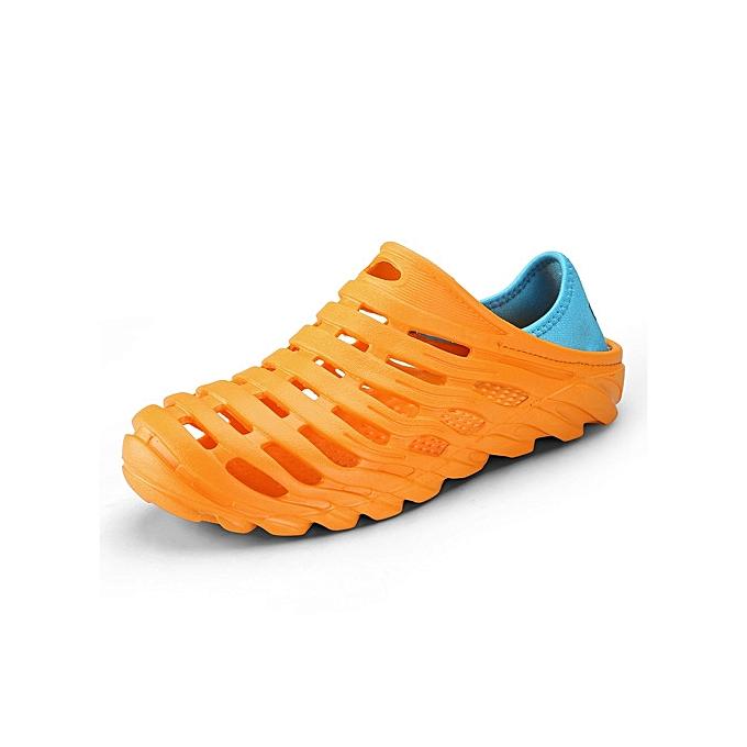 OEM nouveau Super grand Taille Hommes's Sandals Spbague-été Tongue Slippers respirant plage Soft-soled imperméable Hole chaussures-Orange à prix pas cher