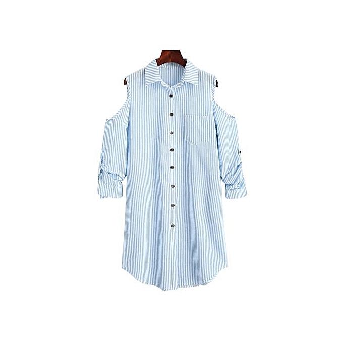 Generic HL Open Shoulder Striped Pocket Dress (Charm)(S,M,L) à prix pas cher