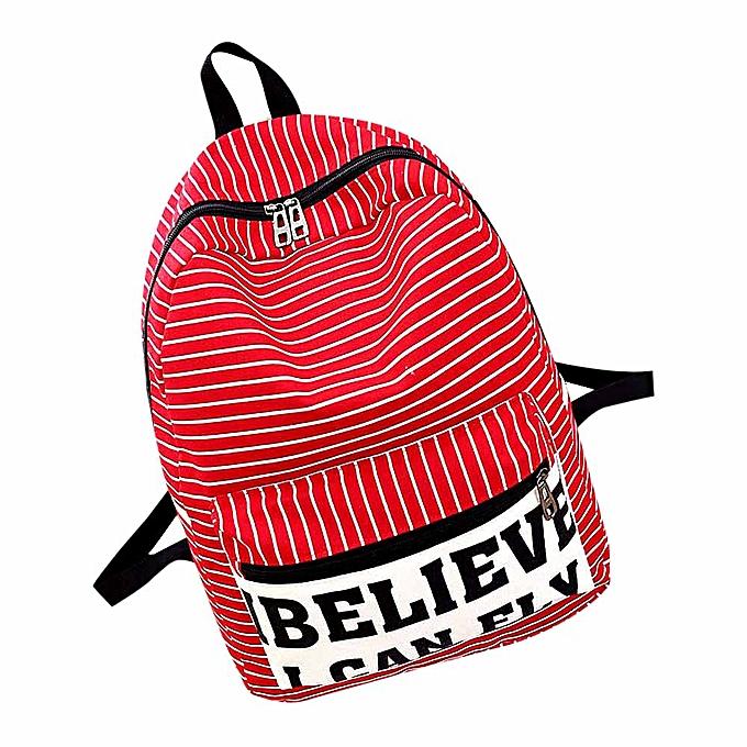nouveauorldline femmes toile Stripe voyage sac à dos Satchel Booksac sac à dos School sac RD-rouge à prix pas cher
