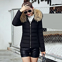 9a3fc031431c0 Fashion Women Short Coat Hooded Down Fur Collar Jacket Slimming Cotton Coat