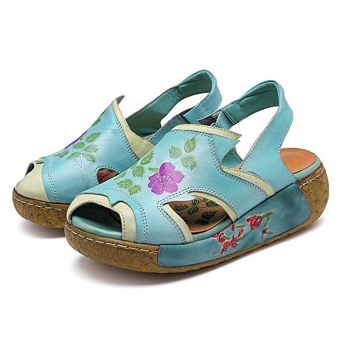 Fashion SOCOFY Handmade Pattern Genuine Leather Slip Toe On Peep Toe Slip Platform Comfortable Casual Sandals-EU à prix pas cher  | Jumia Maroc d9b99e