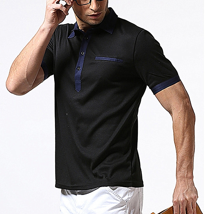 Fashion Small Stand Collar Single-breasted Door Placket Men's T-shirts Casual Solid Couleur Short-sleeved Tops à prix pas cher