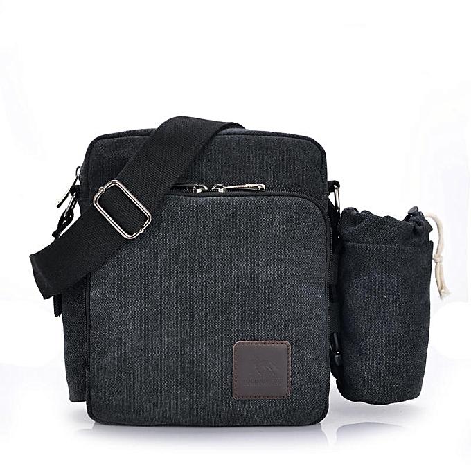 Other Multi-functional Casual Messenger Bags Men Canvas Leisure Men Shoulder Bags Vintage Small Crossbody Satchel Bag For Men 1092-1(1092-3 noir) à prix pas cher