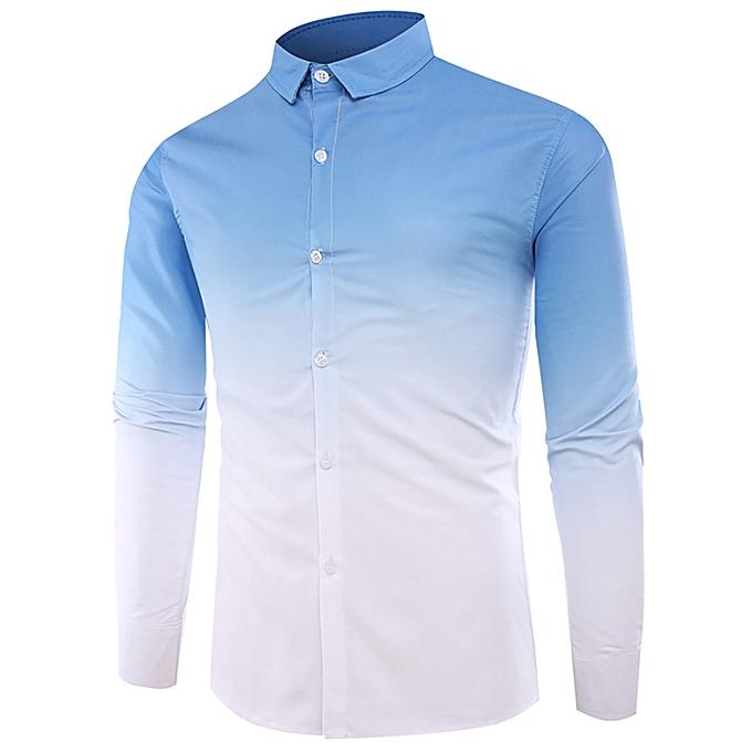 Fashion jiahsyc store Summer Men's Casual Tops Colourouge Gradually Changing Long Sleeve Shirts à prix pas cher