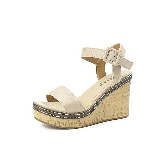 Fashion Bliccol High Heel chaussures femmes Fish Mouth Platform talons hauts Wedge Sandals Buckle Slope Sandals-Beige à prix pas cher
