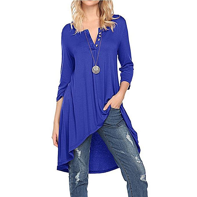 Tauntte femmes Dresses Crewneck Buttoned Party Blouse (Sapphire bleu) à prix pas cher