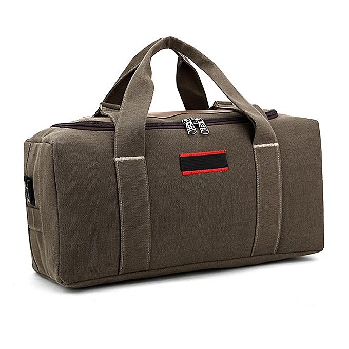 Other 2019 Canvas Travel Bag Weekend Bag Large Capacity Overnight Bag shoulder Men Waterproof messenger bags femmes Travel Tote(marron small) à prix pas cher