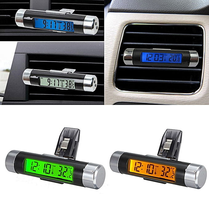 Other Portable Car Styling 2in1 Car Auto LCD display Clip-on temperature Digital Backlight Thermometer time Clock YA398-SZ FCJMALL à prix pas cher