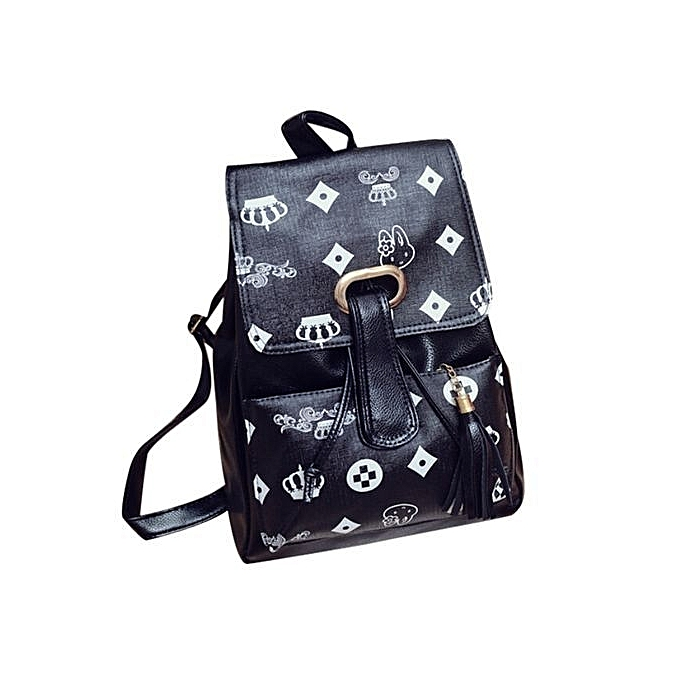 nouveauorldline Girls cuir School sac voyage sac à dos Satchel Print sac à dos E-noir à prix pas cher