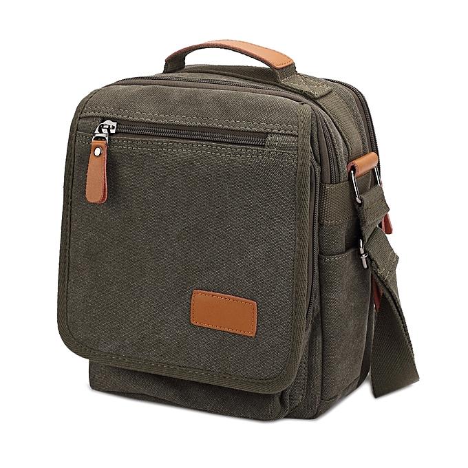 UNIVERSAL Multifunction Canvas Men Messenger Bags Travel Crossbody Shoulder Business Briefcase Tablet Bag Hand Bag, Taille  26x22x7.5cm(Army vert) à prix pas cher
