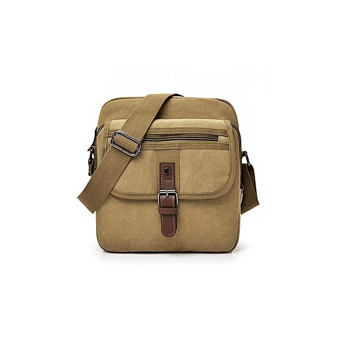 Other 2018 toile bandoulière sac Hommes   Vintage Messenger sacs grand Shoulder sac Décontracté voyage sacs(Khaki) à prix pas cher