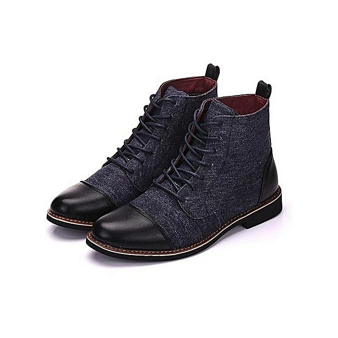 Fashion Fashion Big Yards Men Leather bottes Martin bottes—noir à prix pas cher    Jumia Maroc