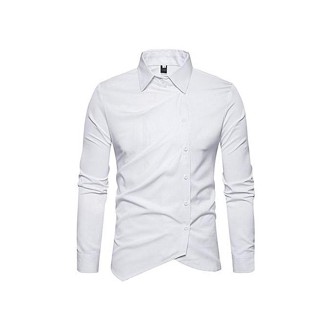 Fashion Turndown Collar Oblique Button Up Shirt à prix pas cher