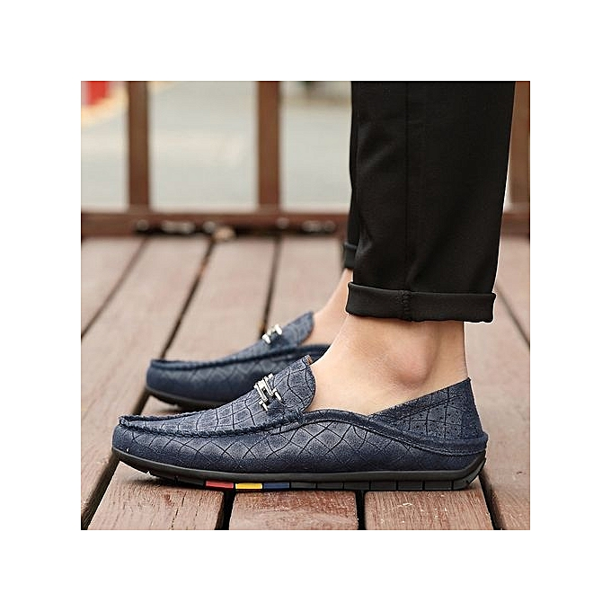 Fashion    's Leather Casual Loafer With Chain Detail-Blue à prix pas cher  | Jumia Maroc eeeab8