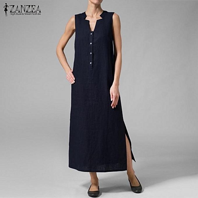 Zanzea ZANZEA Robe sans hommeches à col en V et à hommeches longues et fente boutonnée sur le côté, caftan élégant bleu marine à prix pas cher