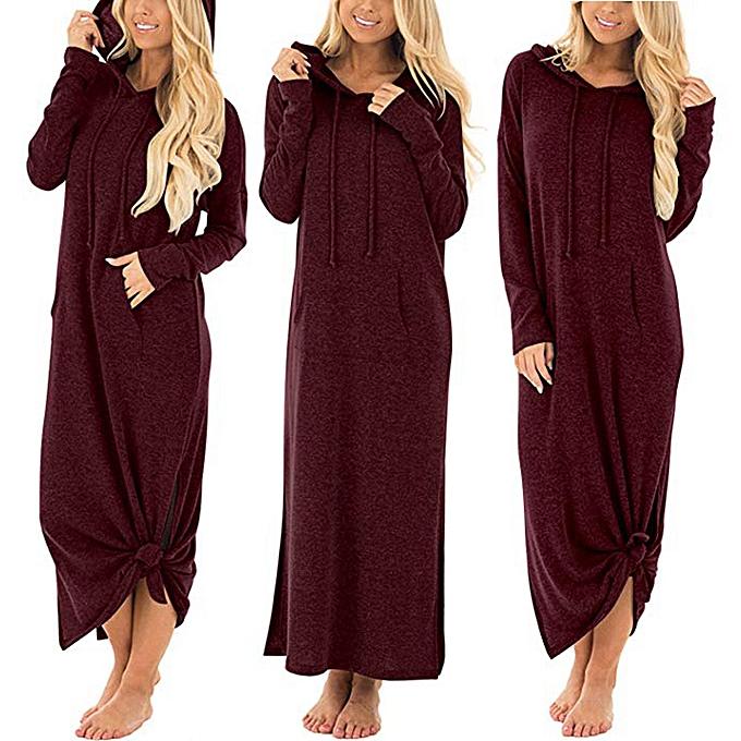 Generic Xiuxingzi femmes Décontracté Pockets Robees manche longue Split encapuchonné Solid Long Maxi Robe à prix pas cher