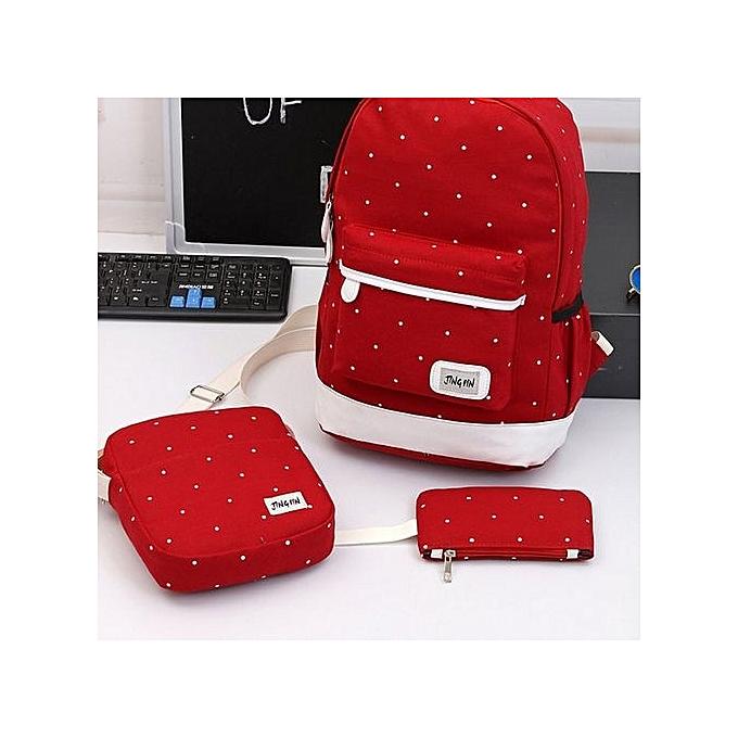 Generic UJ 3 Pieces set Composit sac Handsac Tote Mini Wallet bourse Dot Printed sac à dos-rouge à prix pas cher