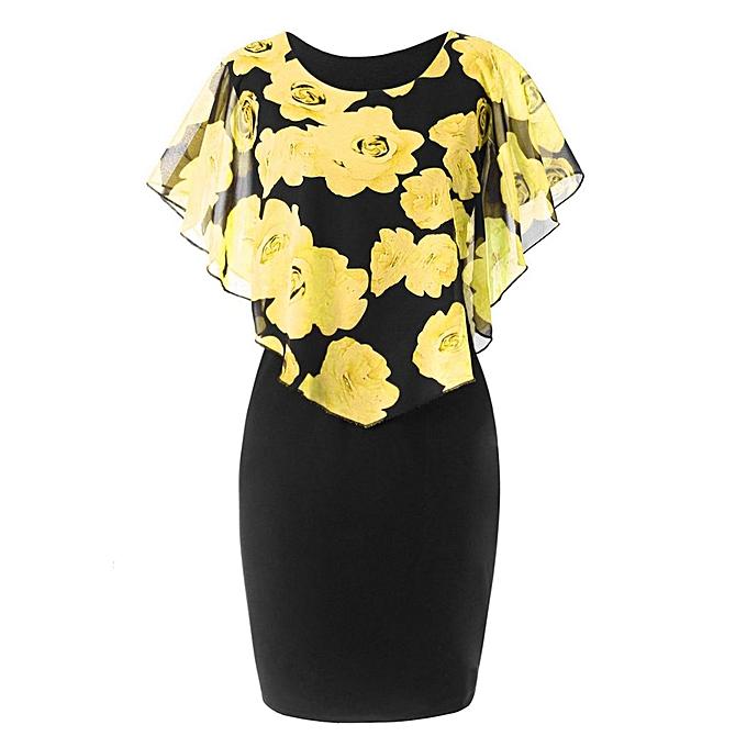 Kokobuy Fashion Floral Print Poncho Dress O-neck Summer Lady Package Hip à prix pas cher