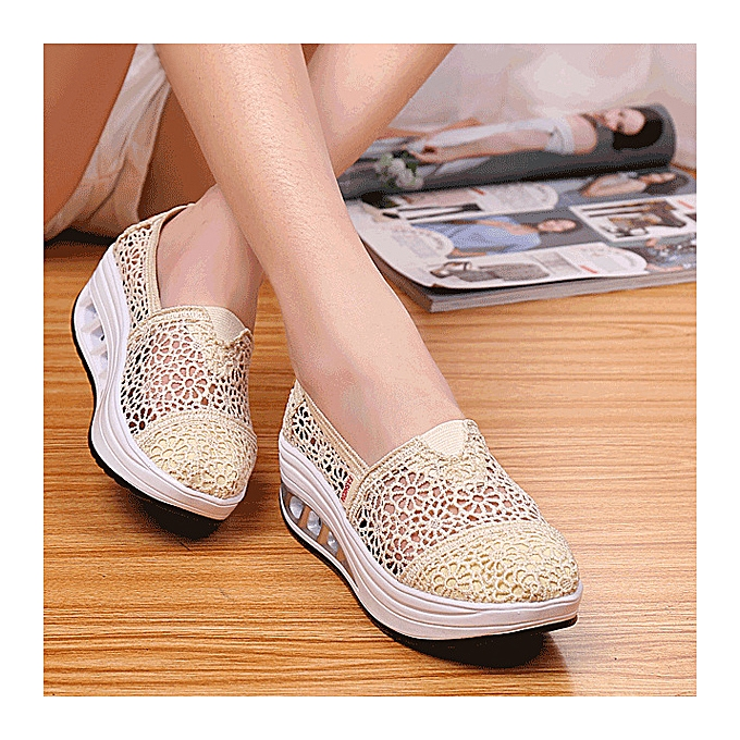 Fashion Hollow Out Lace Rocker Sole Slip On Casual Round Toe Health chaussures à prix pas cher    Jumia Maroc