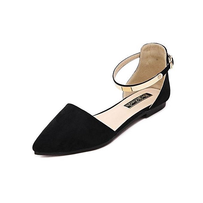 Fashion Wohommes Pointed Toe Ankle Strap chaussures Ballet Flats Spring Casual Sandals noir à prix pas cher    Jumia Maroc