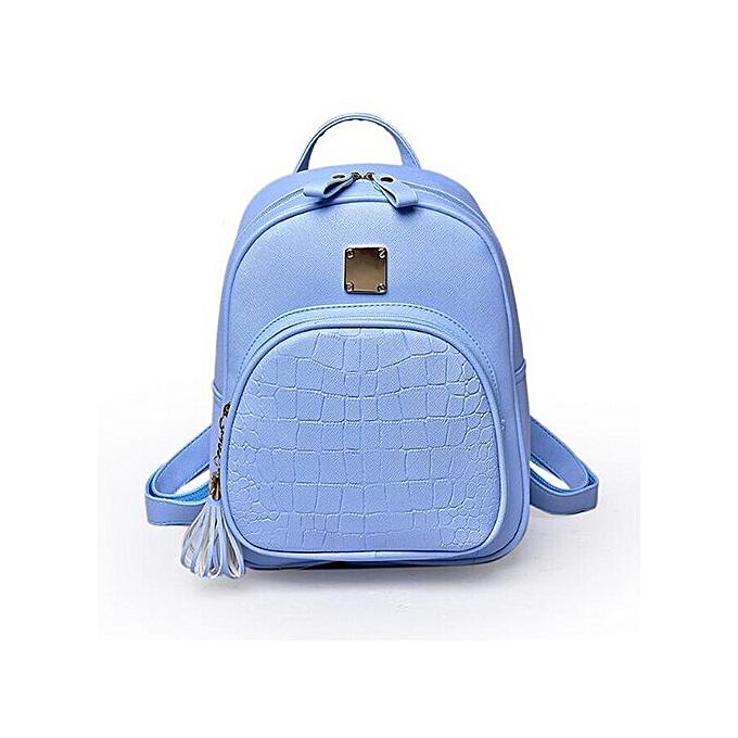 Fashion Preppy Style femmes Backpack PU School Bag Solid Couleur Shoulder Bag Female  travel Knapsack Teenage Girls Tassel casual Rucksack à prix pas cher