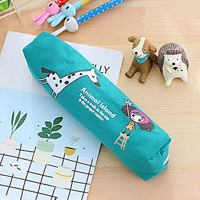 UNIVERSAL Cute Curly Hair Pula Girl Pencil Case Canvas Pen Bag Stationery Pouch For Girls Gift Office School Supplies(bleu) à prix pas cher