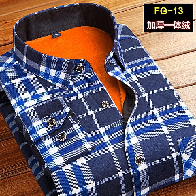 mode Doubleure à hommeches longues pour hommes et chemise chaude en velours épais pour hommes à prix pas cher