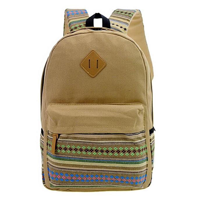nouveauorldline garçons Girls sac à dos Shoulder Booksacs School sac Satchel voyage toile sac à dos- Khaki à prix pas cher