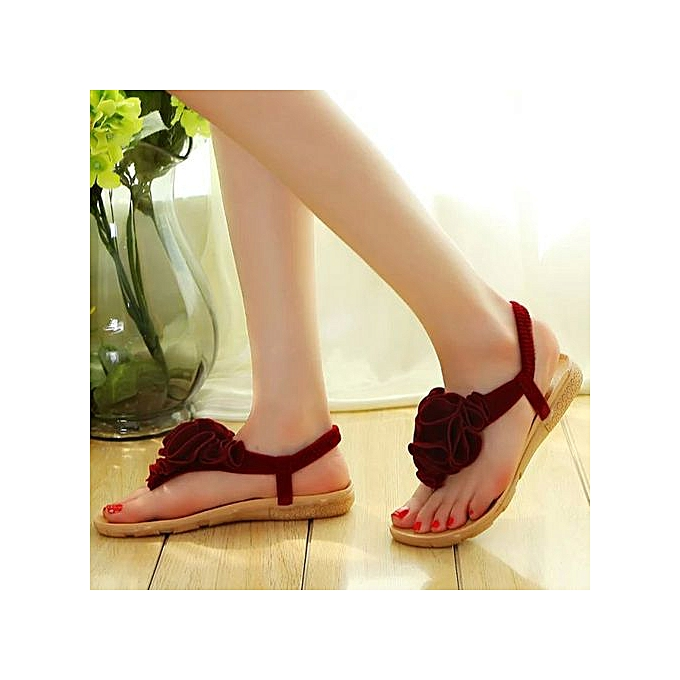 Fashion femmes Flower Summer Bohemia Sweet Sandals Clip Toe Sandals Beach chaussures Gift à prix pas cher
