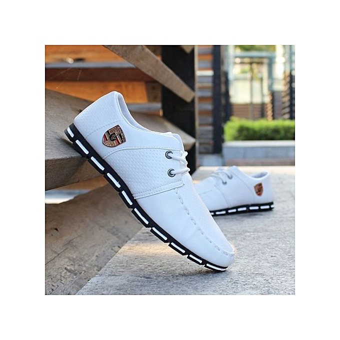 mode Hommes cuir Robe chaussures Big Taille 50 Cow cuir Décontracté respirant Flats chaussures On Foot Laceup-blanc à prix pas cher