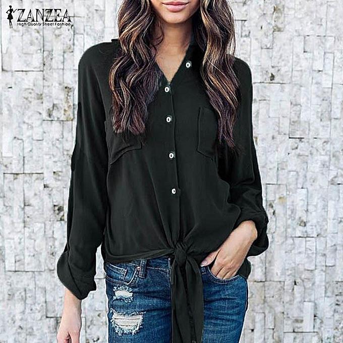 Fashion ZANZEA femmes Lapel Neck Buttons Down Autumn Long Sleeve Asymmetric Hem Lace-up Blouse Office Work Solid Casual Shirt S-5XL noir à prix pas cher