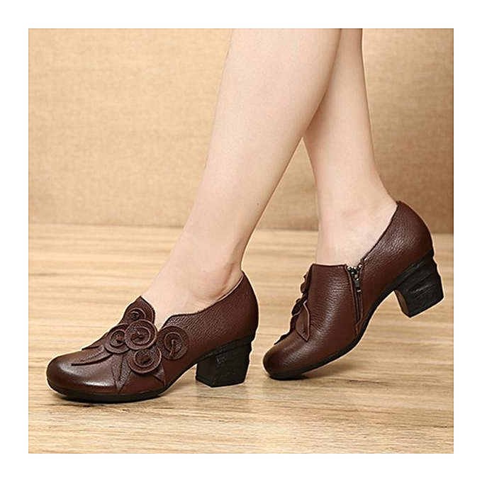 Fashion SOCOFY Fashion Retro Handmade Floral Leather Mid Heel WoHommes   WoHommes Pumps Shoes-EU à prix pas cher  | Jumia Maroc 47b3d1