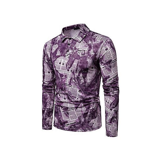 OEM nouveau mode Couleur body dynamic design Hommes& 039;s lapel long-sleeved polo shirt-violet à prix pas cher