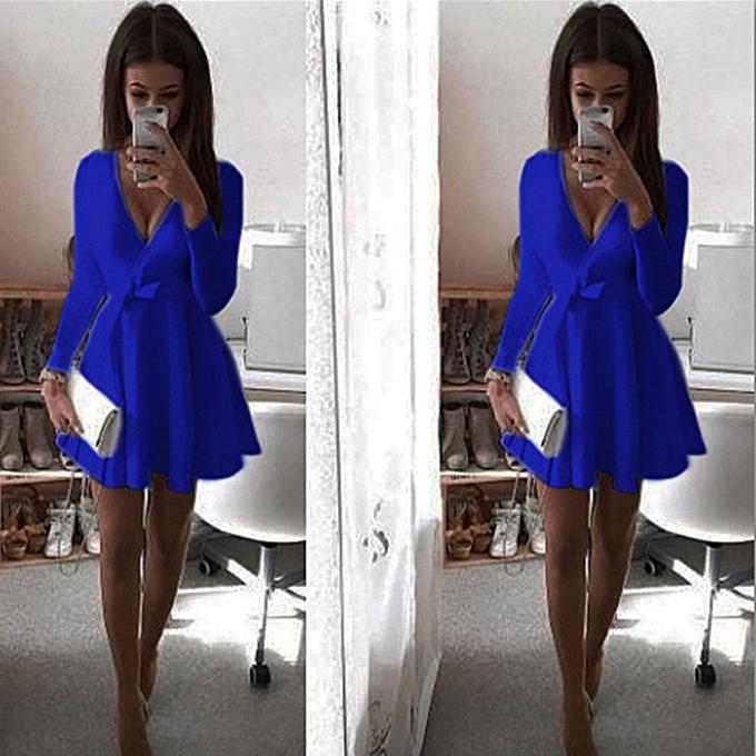 Fashion femmes Long Sleeve V Neck Bowknot Dress Evening Party Mini Dresses BU L à prix pas cher