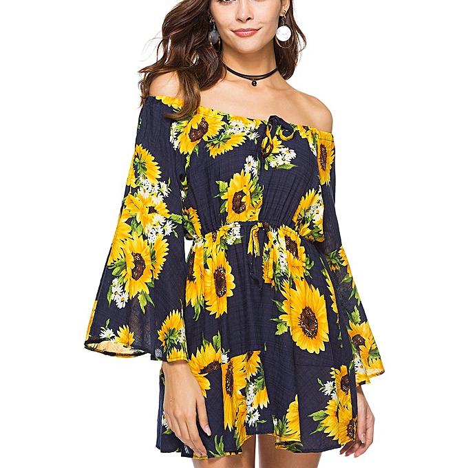 Generic TB Spring And Summer Dress Print Elastic Waist Tie Strapless Collar Skirt-3 à prix pas cher