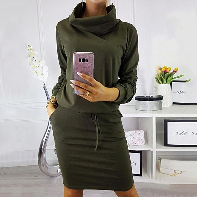 Generic Xiuxingzi femmes Warm Pockets High Neck Long Sleeve Lace Up Mini Dress Party Dress GN L à prix pas cher