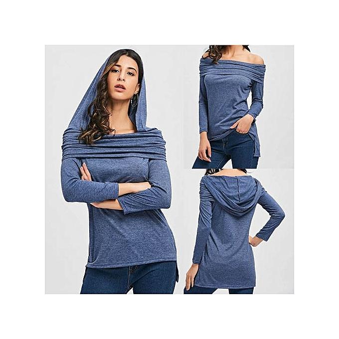Fashion femmes Ladies Slash Neck Hooded Long Sleeve T-Shirt Tops Blouse à prix pas cher