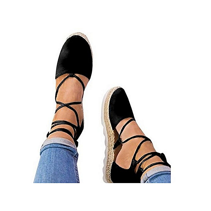 Fashion Hiamok_femmes Flat Lace-Up Espadrilles Summer Chunky Holiday Sandals chaussures Strap chaussures à prix pas cher    Jumia Maroc