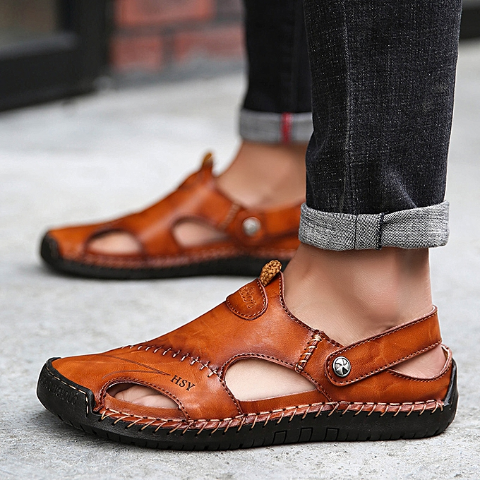 525244f463 Men Closed Toe Sandals Causal Round Toe Leather Shoes Outdoor Beach Slippers