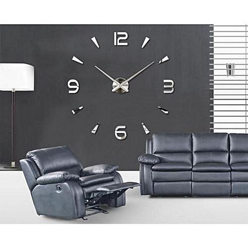 diy grande horloge murale design 3d 1 20m silver mz lux. Black Bedroom Furniture Sets. Home Design Ideas