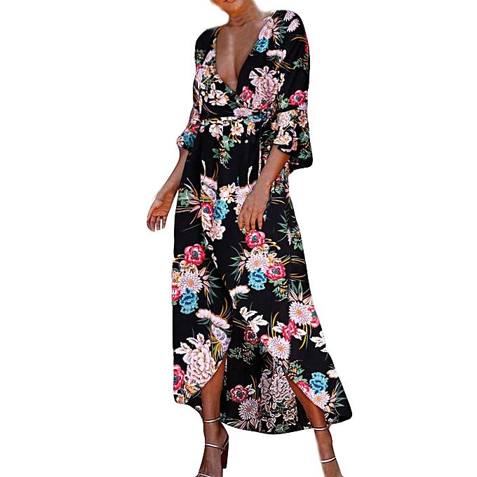 mode schoolcool femmes été plage SunRobe Floral Boho Evening Party Long Maxi Robe à prix pas cher
