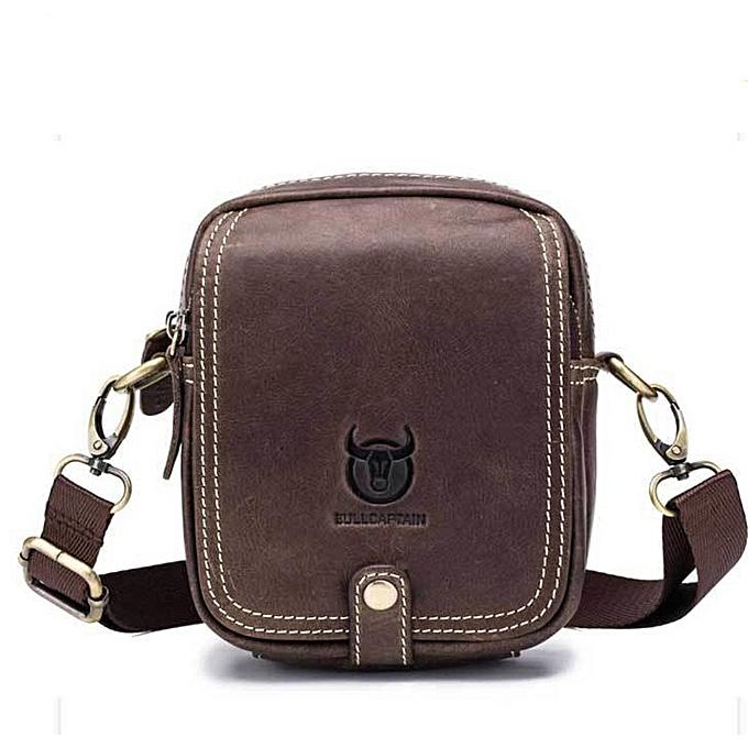 Other small  Leather hommes Shoulder bag mini cowhide leather Crossbody bags fashion Handbags Leather homme Messenger bag(marron) à prix pas cher