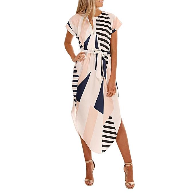 Fashion schoolcool femmes Casual Short Sleeve V Neck Printed Maxi Dress With Belt à prix pas cher