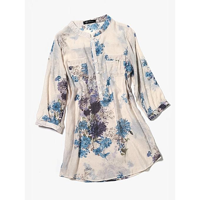 Fashion femmes Cotton Linen Floral Loose 3 4 Sleeve Button Shirts with Pocket à prix pas cher