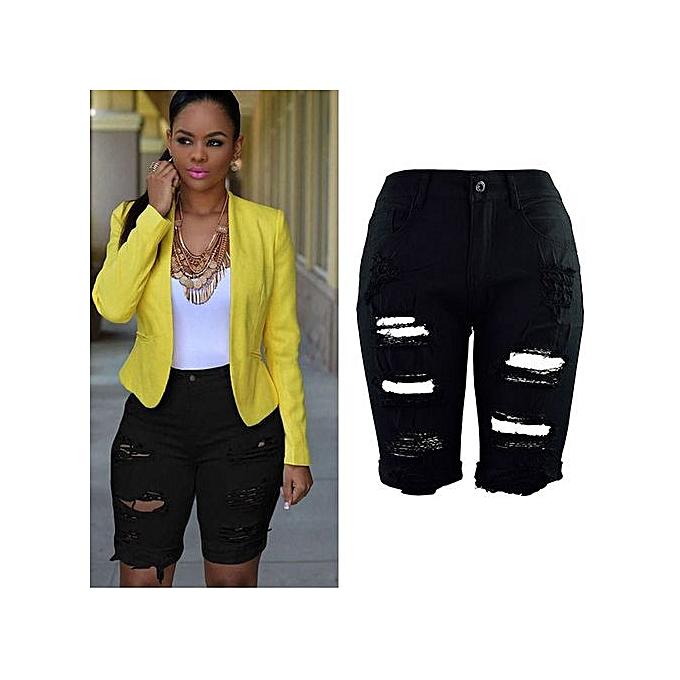 Fashion Xiuxingzi_femmes Casual Denim Destroyed Bermuda Shorts Jeans BK M à prix pas cher