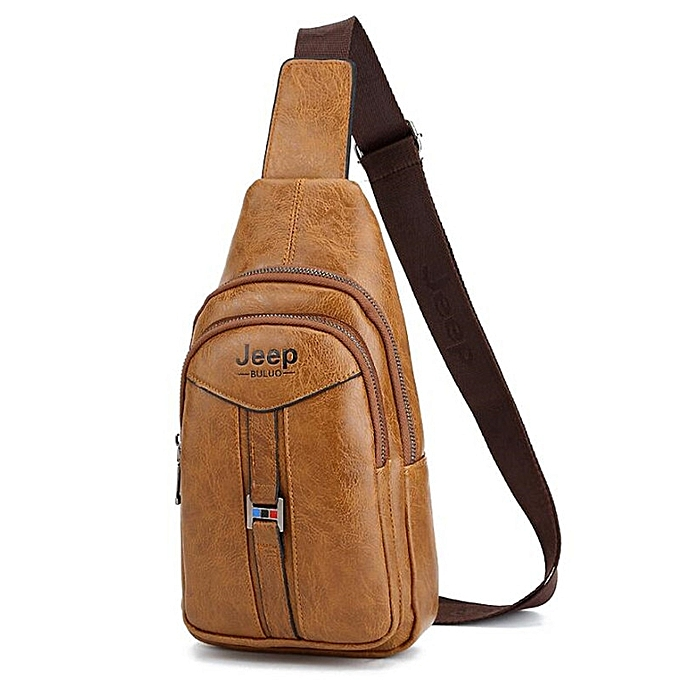 Other JEEP BULUO Men's Corss body Sling Bags Men Leather College Chest Bag Summer Travel Shoulder Bags Male Drop shipping(Khaki) à prix pas cher