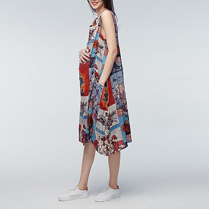 Zanzea femmes Summer Sleeveless Printed Floral Cotton Loose Casual Long Dress à prix pas cher